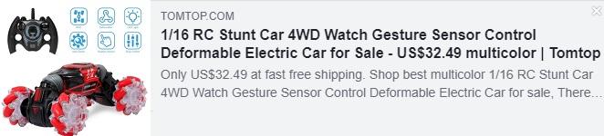 1/16 RC Stunt Car 4WD Watch Gesture Sensor Control Deformable Electric Car   Price: $32.49